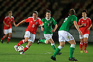 Rachel Rowe of Wales (8) makes a break. Friendly International Womens football, Wales Women v Republic of Ireland Women at Rodney Parade in Newport, South Wales on Friday 19th August 2016.<br /> pic by Andrew Orchard, Andrew Orchard sports photography.