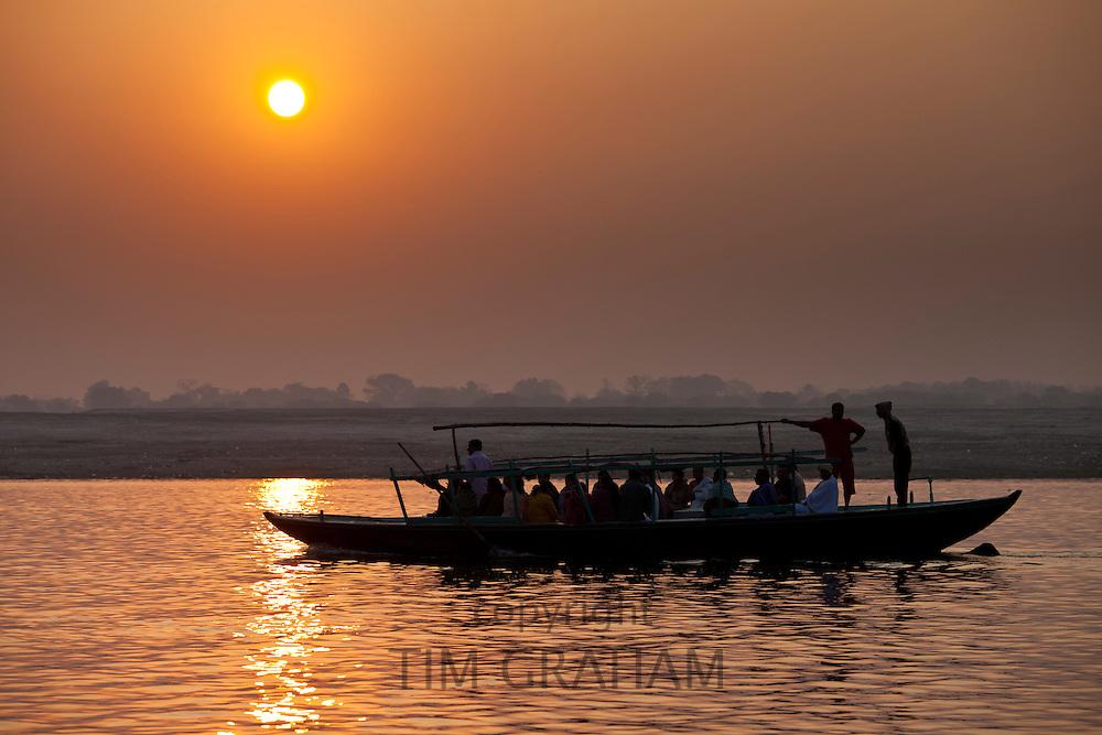 Traditional scenes on River Ganges at Varanasi, Benares, Northern India