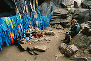 Writer David Quammen in a holy cave in Khovsgol region, on assignment for the National Geographic magazine.