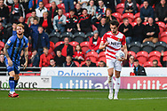 John Marquis of Doncaster Rovers (9) disagrees with the referee's decision during the EFL Sky Bet League 1 match between Doncaster Rovers and Gillingham at the Keepmoat Stadium, Doncaster, England on 20 October 2018.