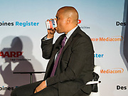 15 JULY 2019 - DES MOINES, IOWA: Senator CORY BOOKER (D-NJ) drinks from a mug during his presentation at the first AARP Presidential Candidate Forum in Des Moines. The forum featured Senator Cory Booker, Governor John Hickenlooper, Senator Amy Klobuchar and Vice President Joe Biden. The AARP is hosting other forums for the rest of the Democratic field in other towns in Iowa this week. Iowa hosts the first event of the 2020 Presidential election cycle. The Iowa Caucuses are on February 3, 2020.       PHOTO BY JACK KURTZ