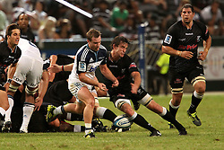 Toby Morland of The Blues loses the ball out of the scrum during the Super15 match between The Mr Price Sharks and The Blues held at Mr Price Kings Park Stadium in Durban on the 26th February 2011..Photo By:  Ron Gaunt/SPORTZPICS