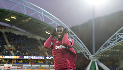 """West Ham United's Pedro Obiang celebrates during the Premier League match at the John Smith's Stadium, Huddersfield. PRESS ASSOCIATION Photo. Picture date: Saturday November 10, 2018. See PA story SOCCER Huddersfield. Photo credit should read: Dave Howarth/PA Wire. RESTRICTIONS: EDITORIAL USE ONLY No use with unauthorised audio, video, data, fixture lists, club/league logos or """"live"""" services. Online in-match use limited to 120 images, no video emulation. No use in betting, games or single club/league/player publications."""