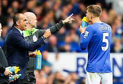 Everton Manager, Roberto Martinez shouts instructions to John Stones during a break in play  - Mandatory byline: Matt McNulty/JMP - 07966386802 - 12/09/2015 - FOOTBALL - Goodison Park -Everton,England - Everton v Chelsea - Barclays Premier League