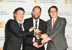 (left to right) Ben Bocquelet, Mic Graves and Joe Parham with the Best Writer award for The Amazing World of Gumball at the British Academy Children's Awards, at the Roundhouse in Camden, north London.