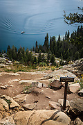 Jenny Lake seen from from Inspiration Point on the Cascade Creek Trail, at Grand Teton National Park, Wyoming