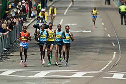 2013 Boston Marathon: lead pack of elite men drop defending champion Wesley Korir near mile 20
