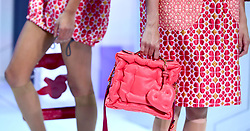 A close-up of models on the catwalk during the Anya Hindmarch London Fashion Week SS18 show held at Lindley Hall, London.
