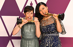 Becky Neiman-Cobb (left) and Domee She with the award for best short film (animated) for Bao in the press room at the 91st Academy Awards held at the Dolby Theatre in Hollywood, Los Angeles, USA