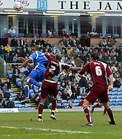 Photo: Paul Greenwood.<br />Burnley FC v Cardiff City. Coca Cola Championship. 09/04/2007.<br />Cardiff's Matthew Green (L) sees his header go well wide.