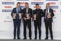 Borja Viguera, Gaizka Garitano, Xabier Irureta and Valdes Aller pose during the MARCA Football Awards ceremony in Madrid, Spain. November 10, 2014. (ALTERPHOTOS/Victor Blanco)