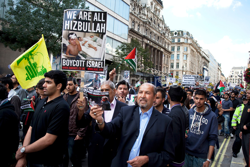 Palestinians demonstrate in central London Al-Quds Day during the last week of Ramadan in support of the rights of the Palestinian people and to end the more than 60 years of Israeli occupation and mistreatment. Also to boycott Israeli goods and to make people aware that allegedly one third of Israel's diamonds in circulation are effectively 'blood diamonds'.