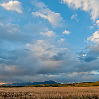Storm Squalls pass over the Gallatin Valley near Bozeman, Montana.  The Bridger Mountains are in background.