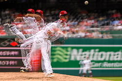 May 6, 2018 - Washington, DC, U.S. - WASHINGTON, DC - MAY 06:  Washington Nationals relief pitcher Brandon Kintzler (21) pitches in an in camera multiple exposure during the game between the Philadelphia Phillies  and the Washington Nationals on May 6, 2018, at Nationals Park, in Washington D.C.  The Washington Nationals defeated the Philadelphia Phillies, 5-4.  (Photo by Mark Goldman/Icon Sportswire) (Credit Image: © Mark Goldman/Icon SMI via ZUMA Press)