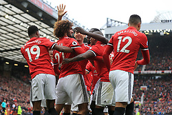 30th September 2017 - Premier League - Manchester United v Crystal Palace - Marouane Fellaini of Man Utd celebrates with teammates after scoring their 3rd goal - Photo: Simon Stacpoole / Offside.