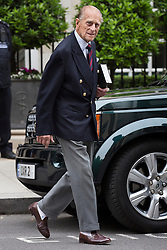 © licensed to London News Pictures. London, UK 17/06/2013. Prince Philip leaving a central London hospital on Monday, 17 June 2013, after an 11 day stay and an exploratory operation on his abdomen. Photo credit: Tolga Akmen/LNP