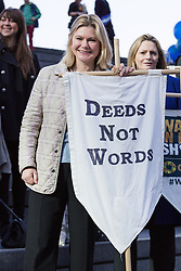 "© Licensed to London News Pictures. 08/03/2015. London, UK. Justine Greening at the ""Walk In Her Shoes"" event to mark International Women's Day at The Scoop amphitheatre on the south bank in London. Photo credit : Vickie Flores/LNP"