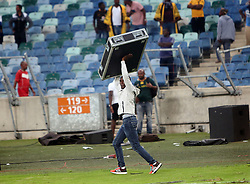 21042018 (Durban) Violence erupted at the Moses Mabhida Stadium in Durban as angry Kaizer Chiefs fans stormed the pitch and attacked Premier Soccer League security personnel and destroyed property after Steve Komphela's side bombed out of the Nedbank Cup following a 2-0 defeat at the hands of Free State Stars on Saturday April 21 2018.<br /> Picture: Motshwari Mofokeng/ANA