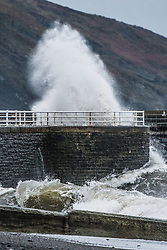 Aberystwyth Wales UK, Thursday 12 January 2017<br /> <br /> UK Weather: Stormy seas  and strong winds batter the seafront in Aberystwyth on the west Wales coast, as the British weather deteriorates, with  'thundersnow' and bitterly cold conditions expected in much of the UK later today<br /> <br /> photo © Keith Morris
