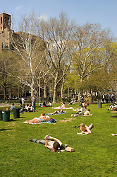 New York City, New York: People enjoying spring sunshine in Washington Square in Greenwich Village  .Photo #: ny313-15098  .Photo copyright Lee Foster, www.fostertravel.com, lee@fostertravel.com, 510-549-2202.