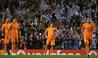 Photo: Paul Thomas.<br /> Chelsea v Barcelona. UEFA Champions League, Group A. 18/10/2006.<br /> <br /> Carles Puyol (C) and his Barcelona wonder went wrong for Chelsea to score.