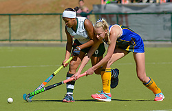 Bianca Wood of Clarendon(white)  and Casey-Jean Botha of Eunice during day one of the FNB Private Wealth Super 12 Hockey Tournament held at Oranje Meisieskool in Bloemfontein, South Africa on the 6th August 2016<br /> <br /> Photo by:   Frikkie Kapp / Real Time Images
