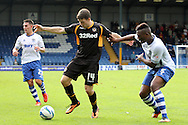 Newport County's Conor Washington (c) is challenged by Bury's Nathan Cameron. Skybet Football League two match, Bury v Newport county at Gigg Lane in Bury on Saturday 5th Oct 2013. pic by David Richards, Andrew Orchard sports photography,