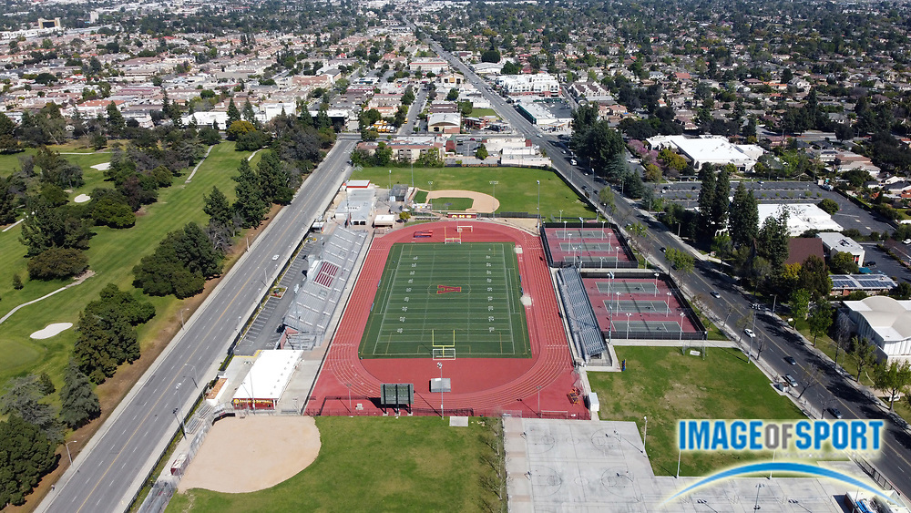 General overall aerial view of Salter Stadium at Arcadia High School, the site of the annual Arcadia Invitational track and field meet, Monday, March 30, 2020 in Arcadia, Calif. The Arcadia Invitational has produced 32 national records and 179 U.S. Olympians since the meet's inception in 1968. It is the largest outdoor high school meet in the United States, with more than 4,000 high school athletes competing largest high school sporting event in the nation that is hosted on a high school campus. The 2020 meet scheduled for April 10-11 was cancelled amid the global coronavirus COVID-19 pandemic.