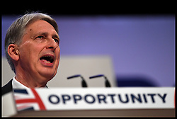 October 1, 2018 - Birmingham, United Kingdom - The Chancellor of the Exchequer PHILIP HAMMOND delivering his speech to the Conservative Party Conference on Day Two.  (Credit Image: © Andrew Parsons/i-Images via ZUMA Press)