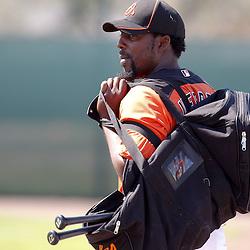 February 21, 2011; Sarasota, FL, USA; Baltimore Orioles designated hitter Vladimir Guerrero (27) during spring training at Ed Smith Stadium.  Mandatory Credit: Derick E. Hingle-US PRESSWIRE