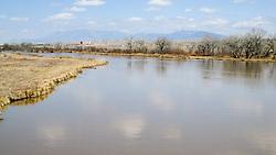 Rio Grande River and Bridge in Albuquerque New Mexico. Central Avenue going West along Old US Route 66