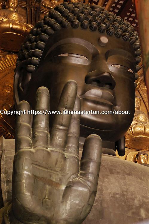 Large Buddha statue at famous Todaiji Temple in Nara Japan
