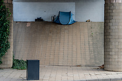 Rough sleeping in Sheffield - a tent pitched on Park Square roundabout. UK