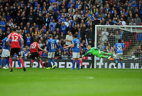 Football - 2019 EFL Checkatrade Trophy Final - Sunderland vs. Portsmouth<br /> <br /> Aiden McGeady of Sunderland scores his first half goal from a free kick past the diving goalkeeper, Craig MacGillivray, at Wembley.<br /> <br /> COLORSPORT/ANDREW COWIE