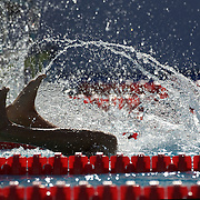 A swimmer turns during the Men's 400m IM heats at the World Swimming Championships in Rome on Sunday, August 02, 2009. Photo Tim Clayton.