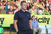 Forest Green Rovers manager, Mark Cooper during the EFL Sky Bet League 2 match between Forest Green Rovers and Stevenage at the New Lawn, Forest Green, United Kingdom on 21 August 2018.