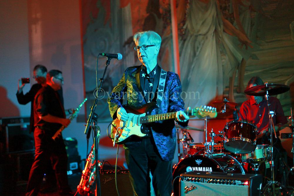08 November 2014. New Orleans, Louisiana. <br /> 2014 International Irish Famine Commemoration, Gallier Hall.<br /> Larry Kirwan, lead singer of Irish band 'Black 47.' <br /> Photo; Charlie Varley/varleypix.com