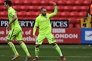 Jiri Skalak of Brighton & Hove Albion ® celebrates after scoring his sides 2nd goal to make it 1-2. Skybet football league championship match, Charlton Athletic v Brighton & Hove Albion at The Valley  in London on Saturday 23rd April 2016.<br /> pic by John Patrick Fletcher, Andrew Orchard sports photography.