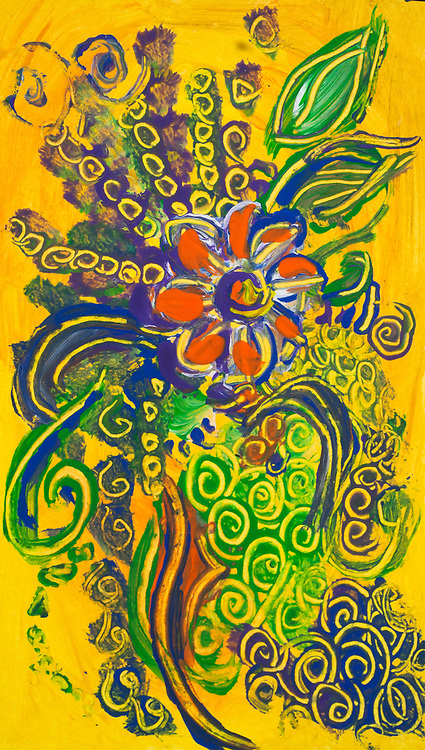 Abstract flower  composition like image on yellow background with a central orange flower, with bended lines, spots of color and round shapes in green, blue, yellow, white, purple and orange colors.