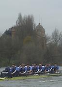 148th Boat Race Trail Eight's.Oxford University Boat Club (OUBC).Putney to Mortlake- The Championship Course.Both crews approaching Harrod Depository (Apartment) with Twisted trailing. Twisted, Bow Christopher Reeve (GBR), 2 Justin Hutchinson (USA), 3 Nicholas O?Grady (GBR), 4 Angus Warner (GBR), 5 Lucas McGee (USA), 6 Basil Dixon (GBR), 7 Andrew Dunn (GBR), Stroke Benjamin Burch (GBR) 2002 President, cox: Peter Hackworth (GBR)...Bitter  -  Blue Tee Shirts, Bow john Adams (GBR), 2 Nicholas Tuppen (GBR), 3 Henry Morris (GBR), 4Danial Perkins (USA), 5 Gerritjan Eggenkamp (NED), 6 David Livingston (GBR), 7  Robin Bourne-Taylor (GBR),  Stroke Matthew Smith (GBR), cox: Acer Nethercott (GBR) Varsity Boat Race Rowing Course: River Thames, Championship course, Putney to Mortlake 4.25 Miles [Mandatory Credit  Peter Spurrier; Intersport Images] 20011213 Oxford University Boat Club,  Trial Eights, Putney to Mortlake, London, UK