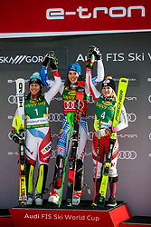 Wendy Holdener (SUI), Petra Vlhova (SVK), Katharina Truppe (AUT) celebrating after the Ladies' Slalom at 56th Golden Fox event at Audi FIS Ski World Cup 2019/20, on February 16, 2020 in Podkoren, Kranjska Gora, Slovenia. Photo by Matic Ritonja / Sportida