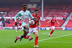 Jamal Lowe of Swansea City brings the ball under control, pressured by Ryan Yates of Nottingham Forest  - Mandatory by-line: Nick Browning/JMP - 29/11/2020 - FOOTBALL - The City Ground - Nottingham, England - Nottingham Forest v Swansea City - Sky Bet Championship