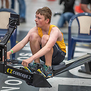 Simon Wagstaff MALE HEAVYWEIGHT U15 2K Race #4  09:15am<br /> <br /> <br /> www.rowingcelebration.com Competing on Concept 2 ergometers at the 2018 NZ Indoor Rowing Championships. Avanti Drome, Cambridge,  Saturday 24 November 2018 © Copyright photo Steve McArthur / @RowingCelebration