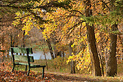 Autumn and old bench<br /> La Barriere Provincial Park<br /> Manitoba<br /> Canada