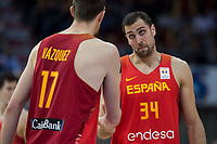Spain Fran Vazquez and Pablo Aguilar during European Qualifiers to China 2019 World Cup match between Spain and Montenegro at Principe Felipe Stadium in Zaragoza , Spain. February 22, 2018. (ALTERPHOTOS/Borja B.Hojas)