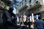 Statue of famous Croatian inventor Nikola Tesla, by famous Croatian sculptor, Ivan Mestrovic. Zagreb, Croatia