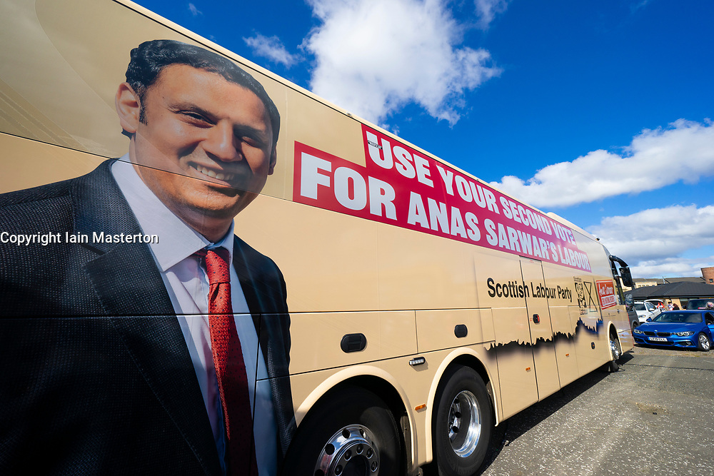 Glasgow, Scotland, UK. 5 May 2021. Scottish Labour Leader Anas Sarwar and former Prime Minister Gordon Brown appear at an eve of polls drive-in campaign rally in Glasgow today.  Labour's campaign bus. Iain Masterton/Alamy Live News