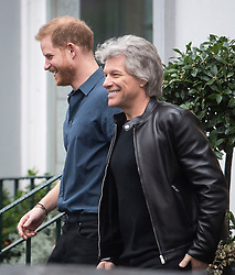 © Licensed to London News Pictures. 28/02/2020. London, UK. Prince Harry, Duke of Sussex and Jon Bon Jovi are seen leaving Abbey Road studios in London after meeting members of the Invictus Games Choir, who are recording a special single in aid of the Invictus Games. Photo credit: Ben Cawthra/LNP