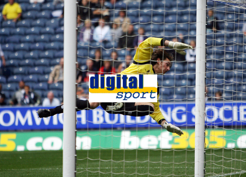 Photo: Rich Eaton.<br /> <br /> West Bromwich Albion v Barnsley. Coca Cola Championship. 01/09/2007. Barnsley's Heinz Muller tips the ball over the bar to make a spectacular save.