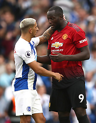 Manchester United's Romelu Lukaku (left) and Brighton & Hove Albion's Anthony Knockaert after the final whistle